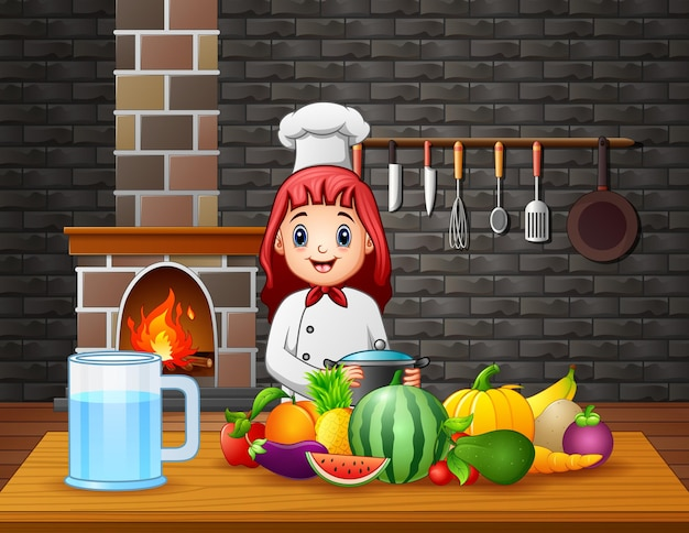 Kobieta Kucharz Przygotowuje Jedzenie Przy Stole Premium Wektorów