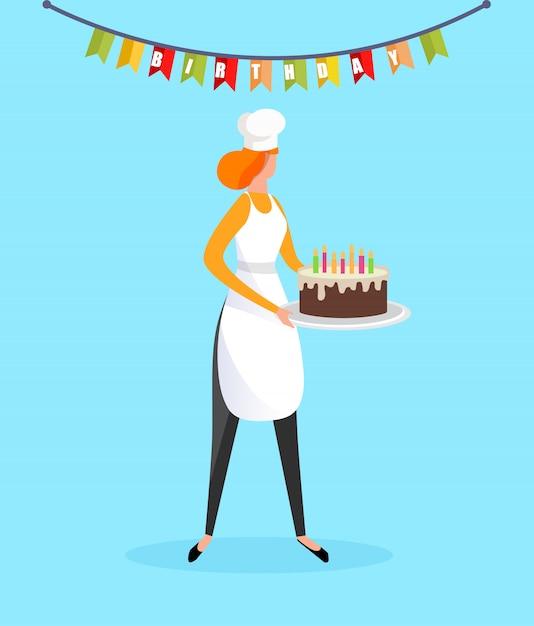 Kobieta Kucharz W Fartuch, Trzymając W Rękach Tort Urodzinowy Premium Wektorów
