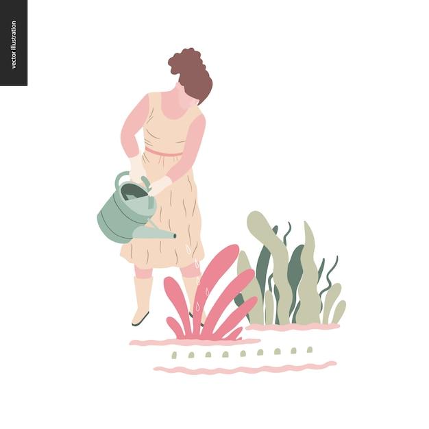 Kobieta lato ogrodnictwo - ilustracja koncepcja płaski wektor młodej kobiety w długiej sukni, rękawice z jednym palcem i buty, podlewanie roślin, koncepcja samowystarczalności Premium Wektorów