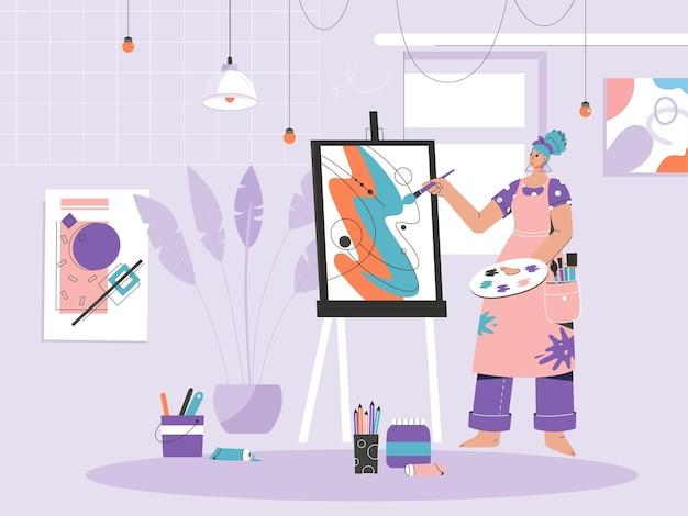 Kobieta Malarz Rysuje Obraz Na Płótnie Na Sztalugach. Premium Wektorów
