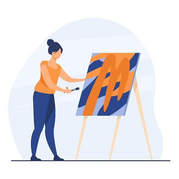 Kobieta Maluje Obraz Artystki. Kobieta Z Pędzlem, Sztalugą, Dziełami Sztuki W Studio. Ilustracja Kreskówka Darmowych Wektorów