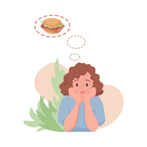 Kobieta Marzy O Ilustracji Kreskówka Płaski Hamburger. Głodna Kobieta Pragnąca Zjeść Fast Food. Premium Wektorów