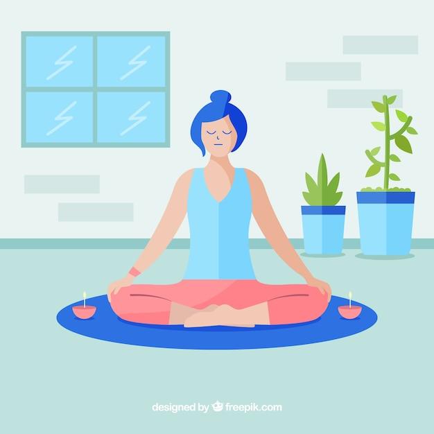 Kobieta medytacji uważności tle Darmowych Wektorów