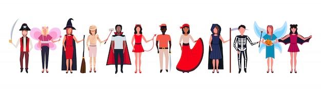 Kobieta mężczyzna grupa noszenie różnych kostiumów stojących razem szczęśliwy koncepcja halloween Premium Wektorów