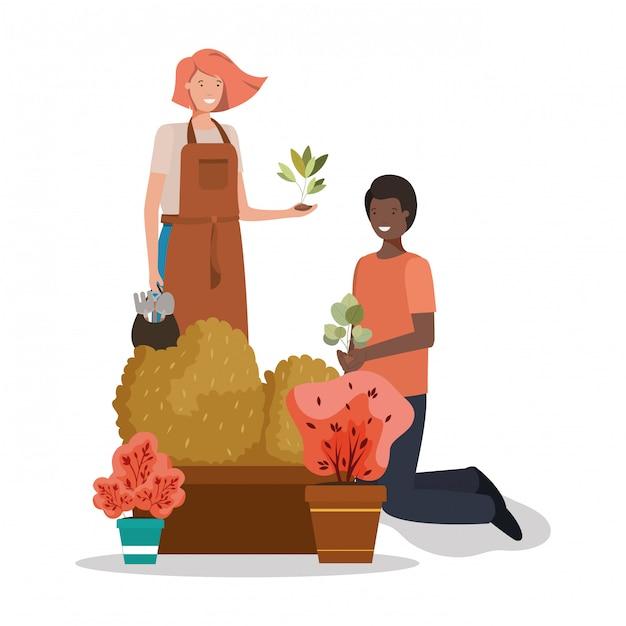 Kobieta Mężczyzna I Koncepcja Ogrodnictwo Premium Wektorów