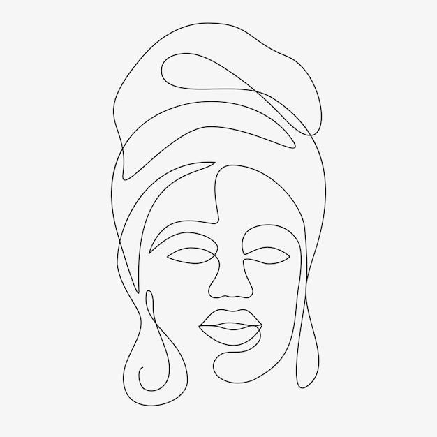Kobieta Minimalne Ręcznie Rysowane Ilustracji. Rysunek W Stylu Jednowierszowym. Premium Wektorów