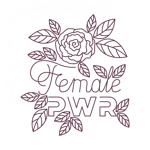 Kobieta moc etykiety z ikonami róż Premium Wektorów