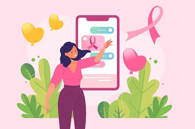 Kobieta Na Koncepcji świadomości Raka Piersi W Mediach Społecznościowych Darmowych Wektorów