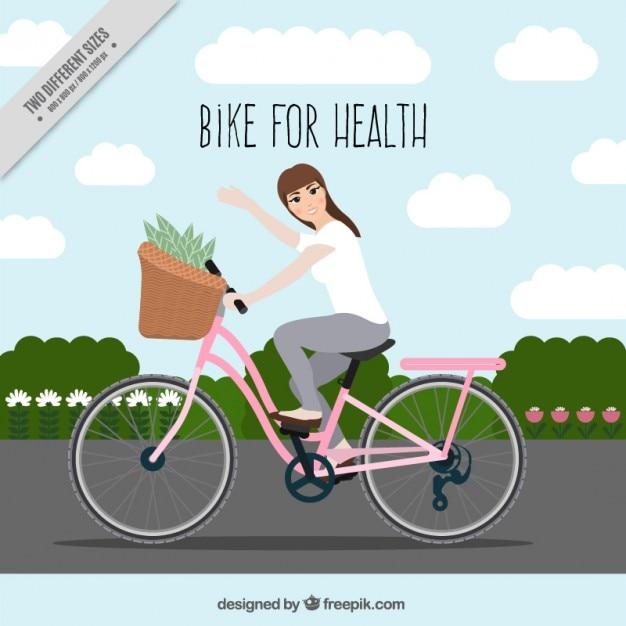 Kobieta Na Rowerze Cute Tle Darmowych Wektorów