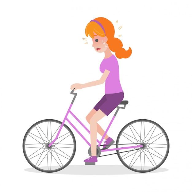 Kobieta na rowerze koncepcja udar medyczny opieki zdrowotnej heatstroke Premium Wektorów
