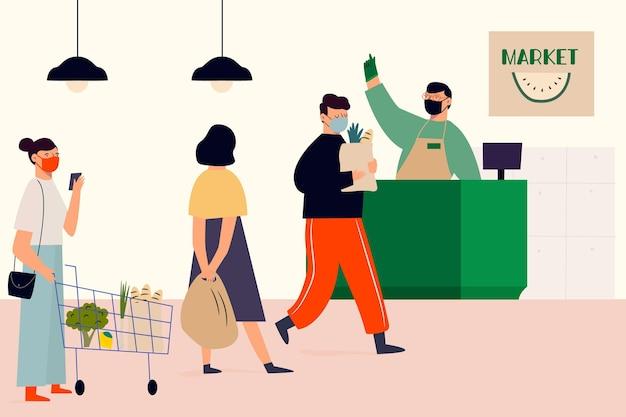 Kobieta Na Zakupy Spożywcze Na Rynku Darmowych Wektorów