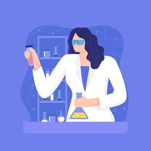 Kobieta Naukowiec Mieszania Substancji Chemicznych Darmowych Wektorów