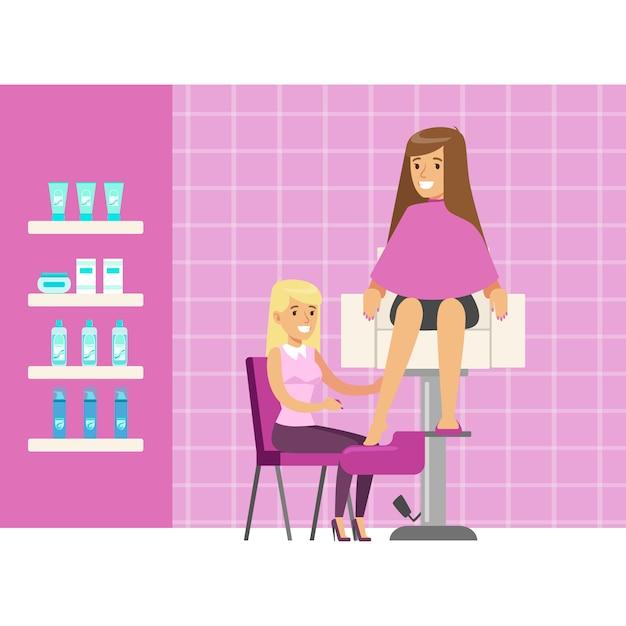 Kobieta O Zabiegu Pedicure W Spa Lub Salon Kosmetyczny. Postać Z Kreskówki Kolorowy Premium Wektorów