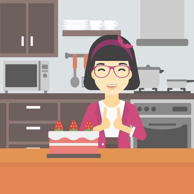 Kobieta Patrząc Na Ciasto Z Pokusą. Premium Wektorów