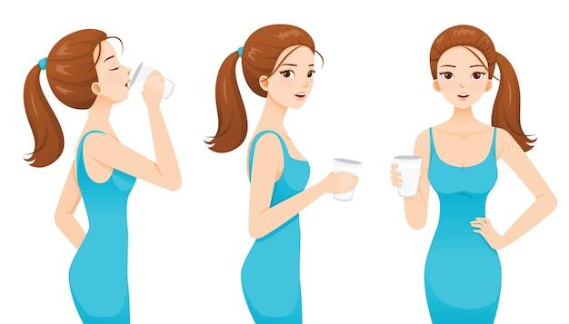 Kobieta Pije Mleko Dla Zdrowia. Dobry Kształt Kobieta W Niebieskiej Sukni. Premium Wektorów