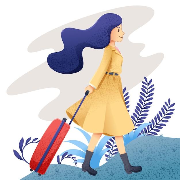 Kobieta podróż Premium Wektorów