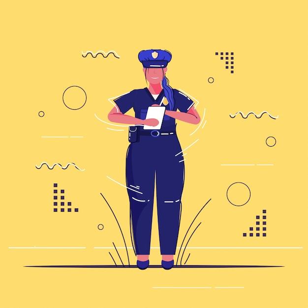 Kobieta Policjant Pisze Raport Parking Grzywny Policjantka W Jednolitym Urzędzie Bezpieczeństwa Sprawiedliwości Niska Usługa Koncepcja Szkic Pełnej Długości Premium Wektorów