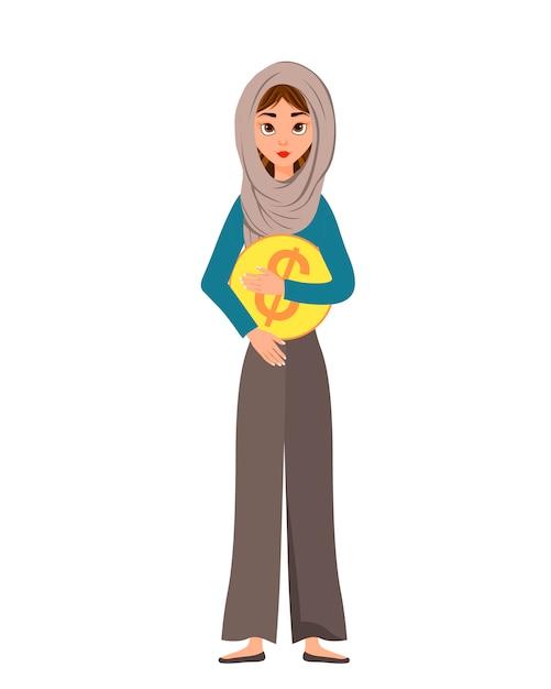 Kobieta Postać W Szaliku Z Dolarową Ikoną Na Białym Tle. Ilustracja. Premium Wektorów