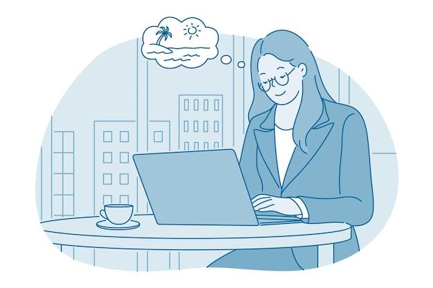 Kobieta Pracownik Biurowy Postać Z Kreskówki Siedzi W Pracy Laptopa Premium Wektorów