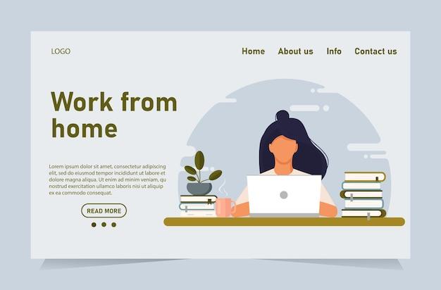Kobieta Pracująca W Home Office. Kobieta Pracuje Z Laptopem Przy Biurku I Testuje Interfejs Użytkownika I Ux. Premium Wektorów