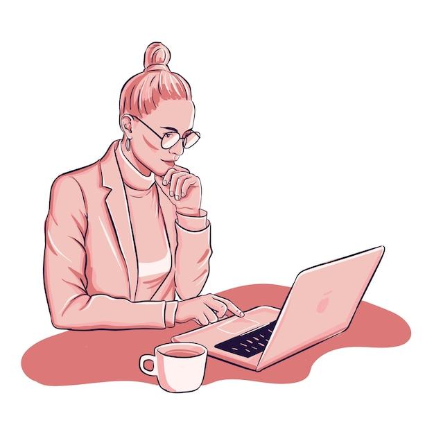 Kobieta Pracuje Na Laptopie Deinking Filiżankę Kawy Darmowych Wektorów