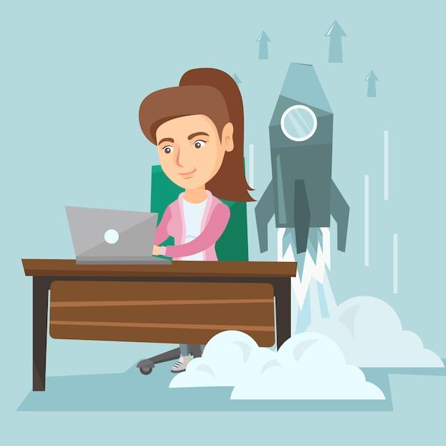 Kobieta Pracuje Na Laptopie Na Biznesie Zaczyna. Premium Wektorów