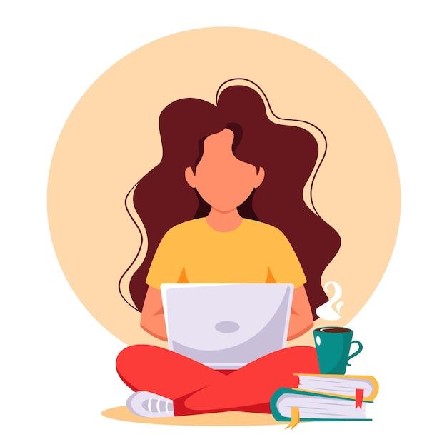 Kobieta Pracuje Na Laptopie. Wolny Strzelec, Praca Zdalna, Nauka Online, Praca Z Domu. Premium Wektorów