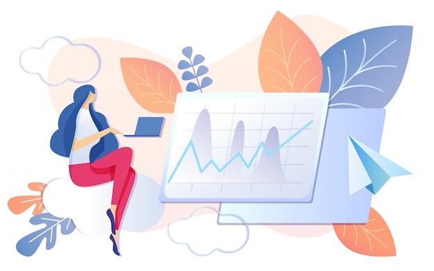 Kobieta pracuje na notebooka wykres finansowy rośnie Premium Wektorów