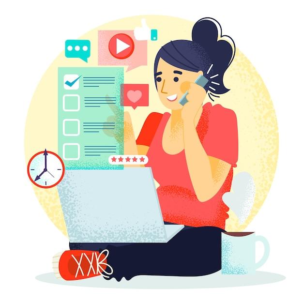 Kobieta Pracuje Na Swoim Laptopie I Rozmawia Przez Telefon Darmowych Wektorów