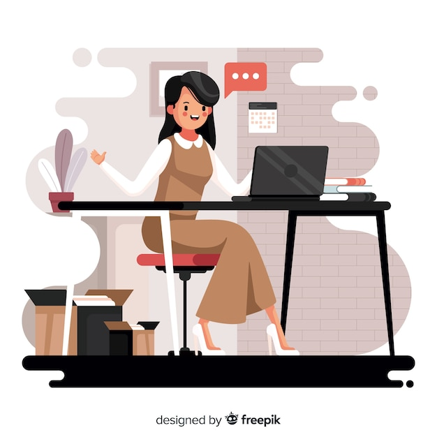 Kobieta pracuje w biurze Darmowych Wektorów
