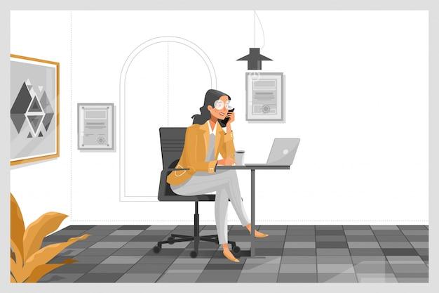Kobieta pracuje z laptopem przy jej pracy biurkiem Premium Wektorów