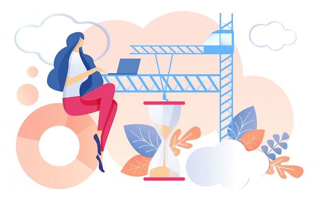 Kobieta Pracy Notebook Klepsydra Działa Piasek Premium Wektorów