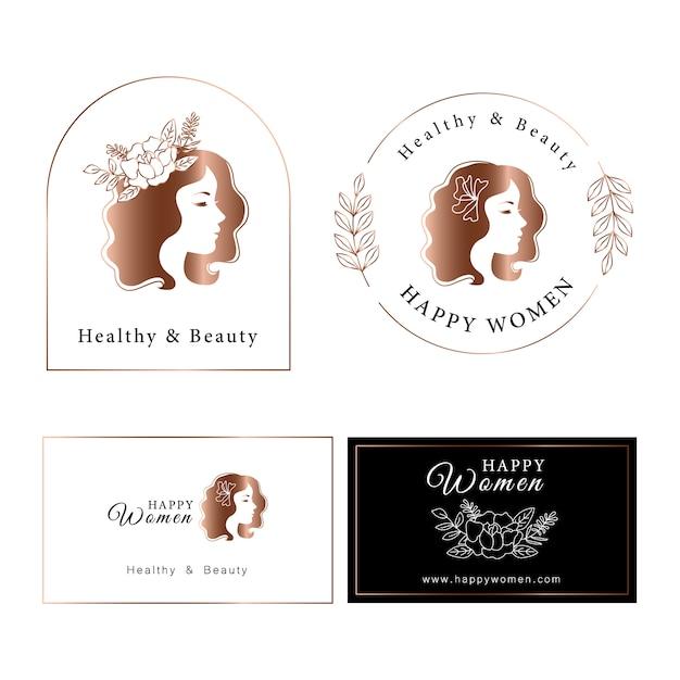 Kobieta Projekt Logo Gradientu Różowego Złota. Premium Wektorów