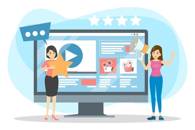 Kobieta Promująca Blog Wideo. Reklama W Treści Premium Wektorów