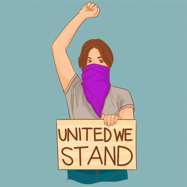 Kobieta Protestuje Przeciwko Równości Premium Wektorów