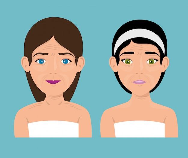 Kobieta Przed I Po Zabiegu Skórnym Darmowych Wektorów