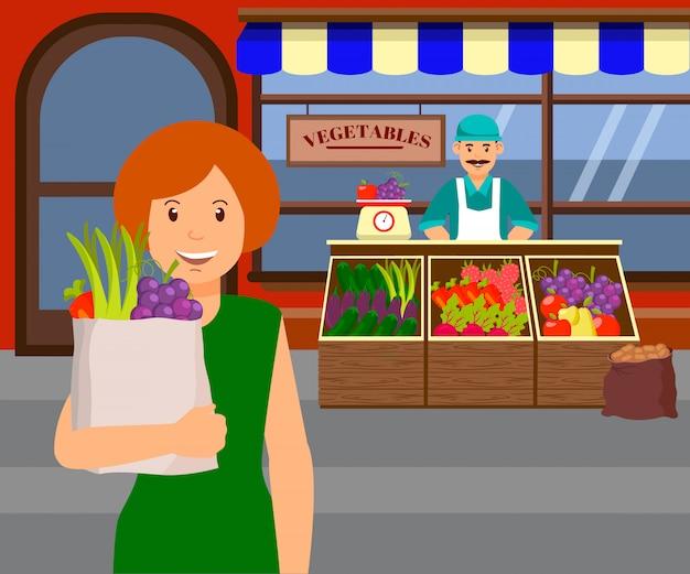 Kobieta przy rolnika rynku płaską wektorową ilustracją Premium Wektorów