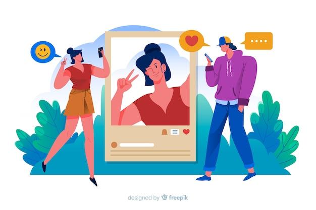 Kobieta publikująca zdjęcia w mediach społecznościowych, a mężczyzna je lubi Darmowych Wektorów