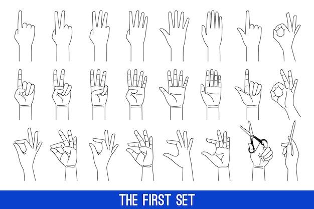 Kobieta Ręce Gesty Zarys Ikon. Panie Ręce Liniowe Wektor Zestaw Ikon Premium Wektorów