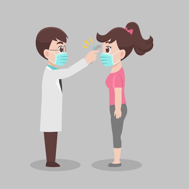 Kobieta Sama Sprawdza Się U Lekarza, Lekarz Skanuje Temperaturę Kobiety W Celu Wykrycia Wirusa Koronowego Premium Wektorów