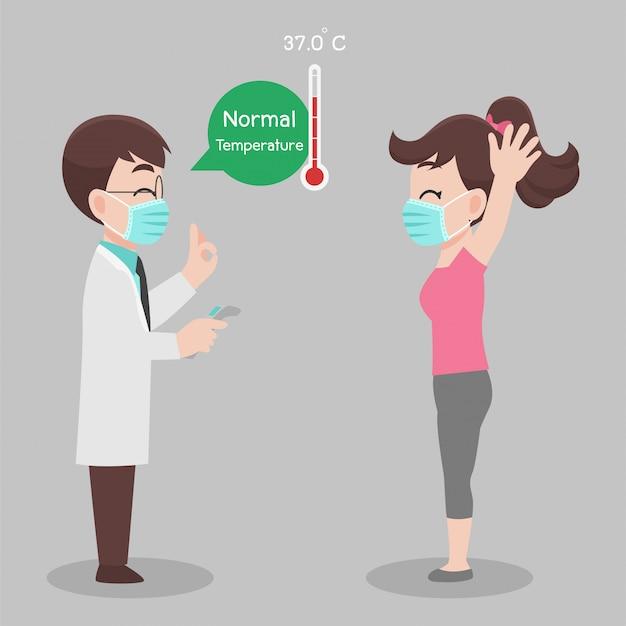 Kobieta Sama Sprawdza Się U Lekarza, Temperatura Do Skanowania W Poszukiwaniu Wirusa Koronowego, Nie Jest Zarażona, Wyniki Są Normalne Premium Wektorów