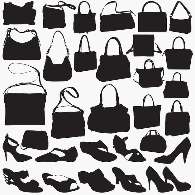 Kobieta sandał torebki sylwetki Premium Wektorów