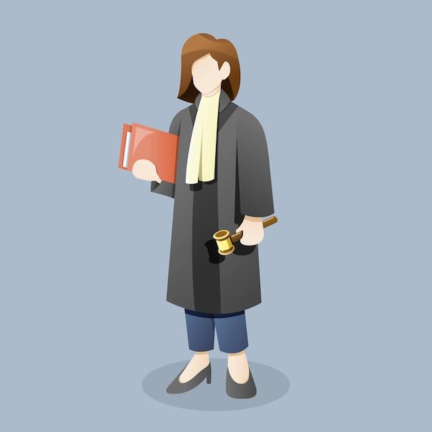 Kobieta Sędzia Lub Prawnik Nosić Młotek Gospodarstwa Dokumentu Premium Wektorów