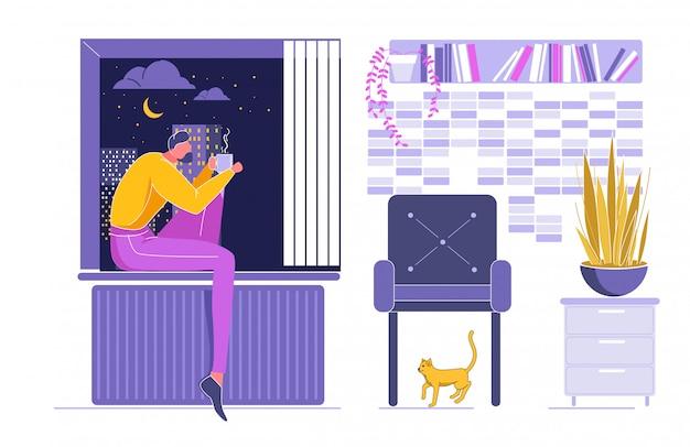 Kobieta siedząca na windowsill i dream with cup. Premium Wektorów