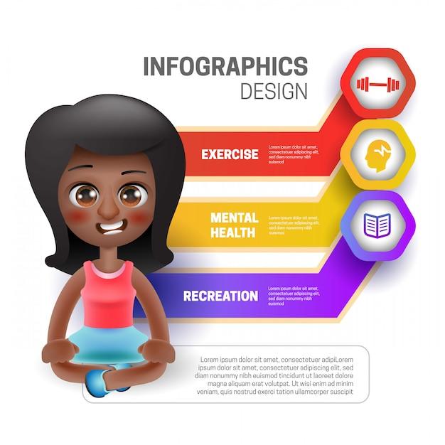 Kobieta Siedząca Z Infografiką Premium Wektorów