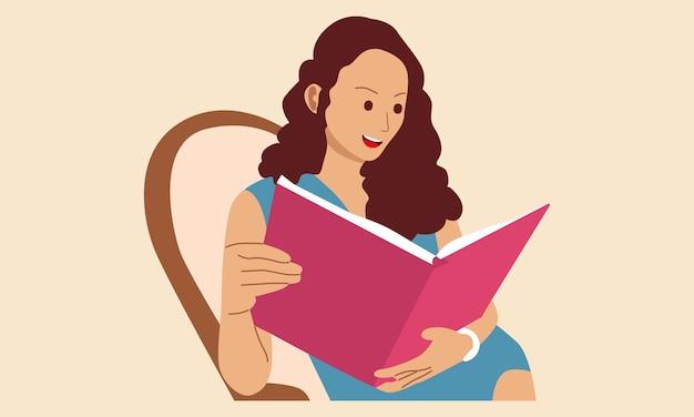 Kobieta Siedzi Na Kanapie I Poczyta Książkę Premium Wektorów