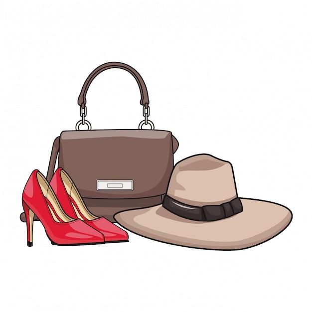 Kobieta stylowa torebka kreskówka Premium Wektorów