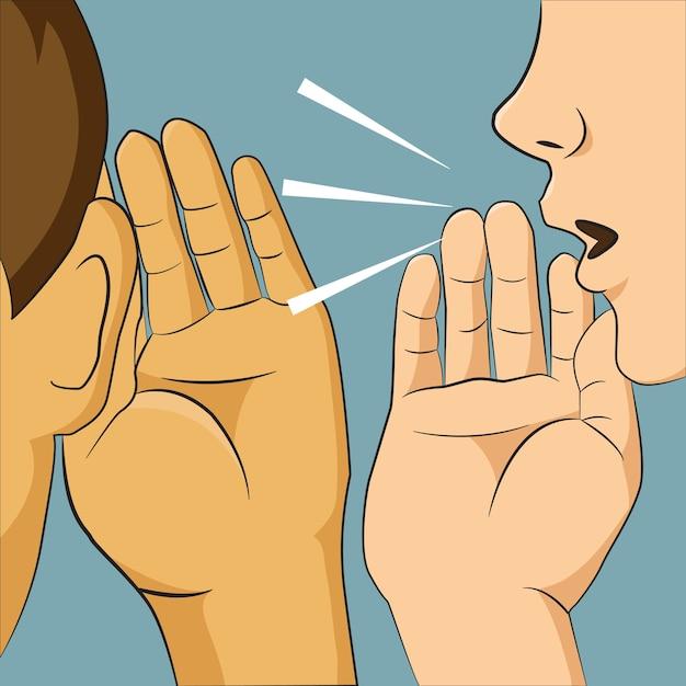 Kobieta szepcząca do kogoś ucha, mówiąc jej coś tajnego. Premium Wektorów