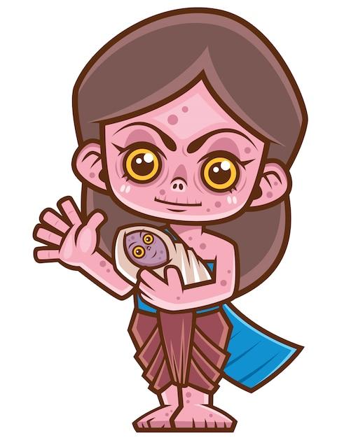 Kobieta tajski duch, mae nak Premium Wektorów