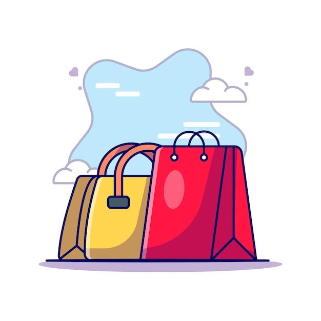 Kobieta Torba I Torba Na Zakupy Na Dzień Kobiet Wektor Ikona Ilustracja Premium Wektorów
